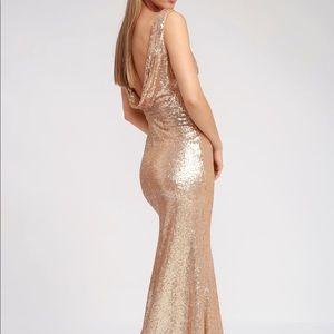 LuLu's Rose Gold Long Sequin Dress